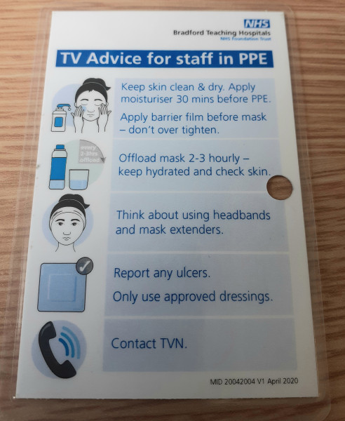 Tissue Viability advice for staff wearing PPE